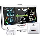 ThermoPro TP68 Termómetro inalámbrico para estación meteorológica interior con sensor exterior recargable Higrómetro digital