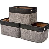 EZOWare Boîte de Rangement Pliable en Coton de Jute avec Poignée, Panier à Linge, Meuble de Rangement pour Salle de Bain…
