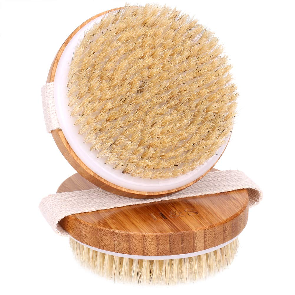 H&S 2 Body Brush Dry Skin Bath Shower Brush Back Scrubber Natural Bristles Exfoliating Cellulite Brush Bamboo Wood