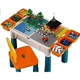 Brigamo Table de jeu 3 en 1 avec 4 panneaux pour jeux de constructions intégrés et chaises