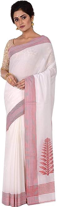 TANTUJA BENGAL HANDLOOM Women's Cotton Woven Handloom Saree (011H8N0235NT18, White)
