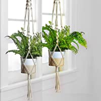 ecofynd Macrame Cotton Boho Plant Hanger [Without Pot] | Rope Flower Pot Holder for Indoor Outdoor Balcony Gardening (M1…