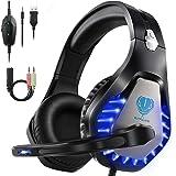HEYSTOP Gaming Headset für PS4 PC, 3.5mm Kopfhörer LED Sound Professional Kopfhörer mit Mikrofon für Xbox One Nintendo…