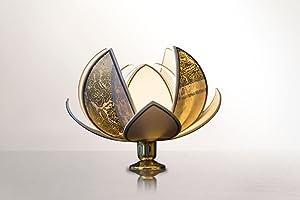 Fiore di Loto decorazione casa in lino e cotone colorati, Lampada da tavolo ideale per arricchire ogni ambiente