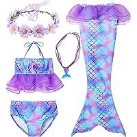 Generic Brands 3PCS Coda da Sirena Ragazza Costume da Bagno Bikini Coda da Sirena Bambina per Nuotare Invia ghirlande e…