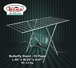 Kens Brand,Butterfly Cloth Drying Stand, Laundry Rack, Folding, Stainless Steel,