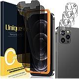 [2+3 Pack] UniqueMe Compatible con iPhone 12 Pro Max 6.7 Pulgadas Intimidad Protector de Pantalla+ Protector de Lente de cáma