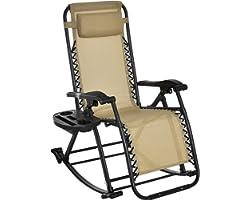 Outsunny Fauteuil à Bascule Rocking Chair Pliable Chaise Longue zéro gravité 2 en 1 Plateau Porte gobelet tétière Acier texti