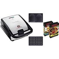 Tefal SW853D12 Snack Collection 2 Appareil Croques et Gaufres Jeux de Plaques   Livres de Recettes Inclus Noir Inox
