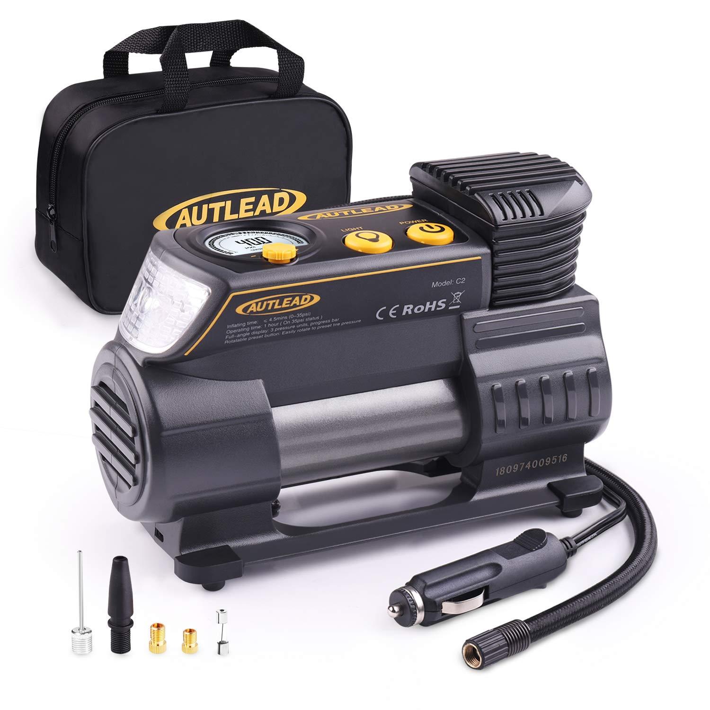 AUTLEAD C2 Compresor Aire Coche, 12V Auto Inflactor Ruedas Coche Embalado, Inflador Electrónico con Conector Rápido, Manómetro Digital, 3 Posiciones Luz, Cable Extenso, 4 Adaptadores de Válvulas
