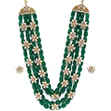 Zaveri Pearls Green Beads & Floral Kundan Necklace Set For Women-ZPFK9098