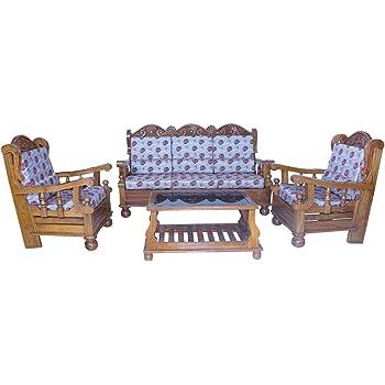 Timberwala Dandeli Teak Wood 5 Seater Ghan Model Sofa Set Amazon In