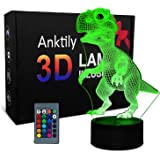 Veilleuse Dinosaure 3D Lampe pour Enfant Garçons Filles,Jouet et Cadeau de Dinosaure, Lampe LED Illusion 16 Couleurs Changean