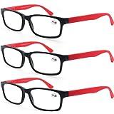 MODFANS Leesbril Mannen Vrouwen 3 Pack,Rechthoekige Clear Lens Comfort Spring Scharnier Brillen,Stijlvolle Lichtgewicht Plast