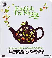 Teegeschenk in edler Metalldose - BIO-Tee-Kollektion mit 72 x original englischem Tee (9 verschiedene Sorten á 8 einzeln kuvertierte Teebeutel) - Geschenkidee