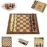 Sunshine smile Schackspel i trä, 3-i-1, bärbart schackbräde i trä, schackbrädeset vikbart, schackspel för fest familjeaktivit