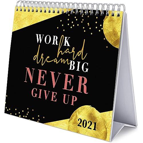 Grupo Erik Calendario da Tavolo 2021 Glitter Gold Dreams, calendario da scrivania 2021, 20x18 cm, Nero