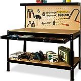 Établi d'atelier avec panneau à outils construction en acier et bois avec tiroir 150 x 120 x 55 cm