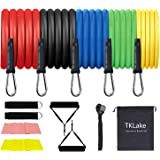 TKLake Exercise Resistance Bands Set,Home Workouts Set with 5 Tubes, 2 Foam Handles, Door Anchor, Ankle Straps, Carrying Pouc