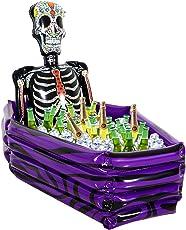 VAMEI aufblasbarer Getränkekühler-Schädel und Sarg-Eis-Halter Dia de Los Muertos mexikanischer Tag der toten Nahrungsmittelgetränk-Kühler-Halloween-Partei-Bevorzugungen im Freien BBQ-Picknick-Kampieren