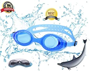 Tavakkal Kids Adjustable Silicon Swimming Goggle/Children Non-Fogging Anti UV Eye Protection Swim Glass/Kids Swimming Goggle with Ear Plugs (Blue)