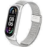 AHANGA voor Xiaomi Mi Band 6 Bandje, Metalen MiBand 5/4/3 Polsband Roestvrij Staal Horlogeband Armband met Veilige Metalen Ge
