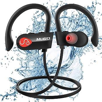 Cuffie Bluetooth Sport V4.1, IPX7 Impermeabile Auricolari Bluetooth Sport con HD Suono Stereo y Microfono Cancellazione di Rumore, In-Ear Cuffie Senza Fili Con EVA Borsa, 10h Batteria Palestra, Corsa