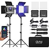 GVM RGB LED Video Light, Photography Lighting with APP Control, Video Lighting Kit for YouTube Studio, 2 Packs Led Panel Ligh