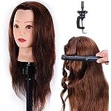 Têtes D'exercice Tête À Coiffer 100% Cheveux Naturel Coiffure Cosmétologie Pratique Mannequin Poupée + Titulaire EHA0418P