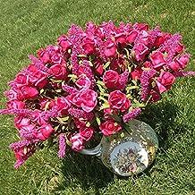 9cabezas lavanda Artificial rosa peonía flores de seda hortensias boda novia oficina decoración del hogar arreglo Floral blanco