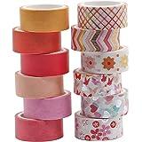 Ruban Adhésif Washi Tape 12 Rouleaux pour Décoration Papier Ruban Bricolage Artisanat (ruban washi flower gold) BOMEI PACK