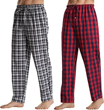Mens Pyjamas Bottoms 2 Pack Comfy Cotton Checked Men Lounge Pants with Pockets Pyjama Trousers Red Checked+Navy Blue Checked L