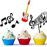 8 Piezas Tarjeta de Magdalena de Notas Musicales, Topper de Tarta de Guitarra, Suministros de Fiesta de Cumpleaños de Tema Mu