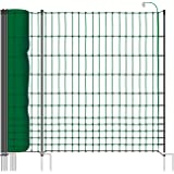 VOSS.farming 50 m Hühnerzaun, Geflügelzaun, Geflügelnetz, Elektronetz, 112 cm, 20 Pfähle, 2 Spitzen, grün Classic