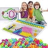 295Pcs Mosaïque Puzzle Jouet Bloc Jeux de Construction Jigsaw Puzzle 3d Clous de Champignon Colorées Créatif DIY Briques Cons