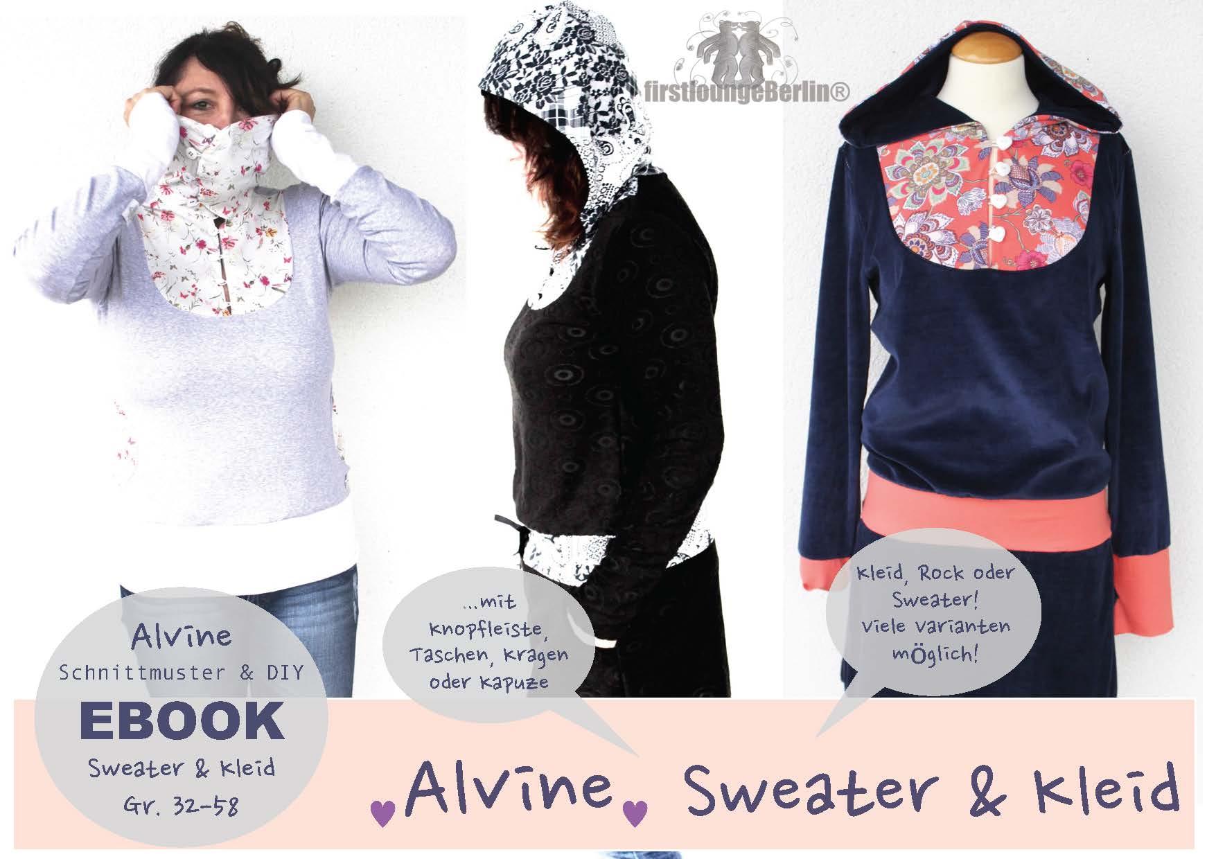 Alvine Sweater, Rock & Kleid in 14 Größen 32-58 Schnittmuster & Nähanleitung [Download]