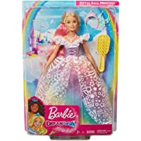 Barbie Dreamtopia Royal Ball Princess Doll, Blonde Wearing Glittery Rainbow Ball Gown, with Brush and 5 Accessories…