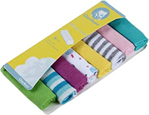 Baby Grow Gerber Terry Cotton Wash Cloth Napkin (Multi Print)- Set of 8