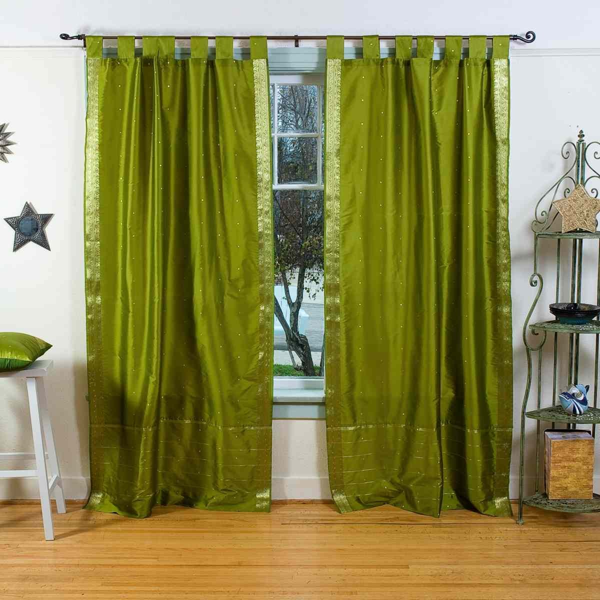 Olive green curtains - Olive Green Tab Top Sheer Sari Curtain Drape Panel 80w X 120l Pair Amazon Co Uk Kitchen Home