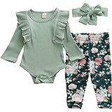 L&ieserram Vestido completo rosa verde azul con impresión de flor de algodón para niño recién nacido de tres piezas de camise