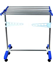 Mega Stainless Steel Single Layer, Make in India, Movable with Foldable Legs Cloth Drying Stand