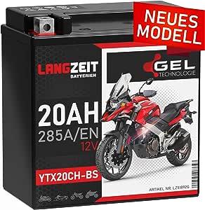 Langzeit Ytx20ch Bs Gel Motorradbatterie 12v 20ah 285a En Gel Batterie 12v 51892 Doppelte Lebensdauer Vorgeladen Auslaufsicher Wartungsfrei Auto