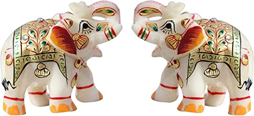 Fashion Bizz Handicraft Home Decor Marble Meena Elephant Pair