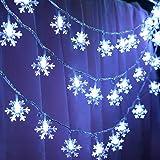 Guirlande lumineuse de flocon de neige, 5M 50 Pcs LED à piles fairy lights, Monochrom à deux modes et décoration brillante fo