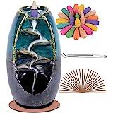 SPACEKEEPER Bruciatore di incenso a riflusso, decorazioni per la casa in ceramica per aromaterapia con 120 coni di incenso a