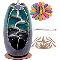 SPACEKEEPER Bruciatore di incenso a riflusso, decorazioni per la casa in ceramica per aromaterapia con 120 coni di…