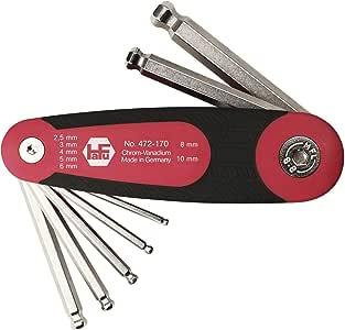 HAFU Sechskant Stiftschlüssel mit Kugelkopf im Klapphalter Serie 472, 7-teilig, 1 Stück, 472-170-02
