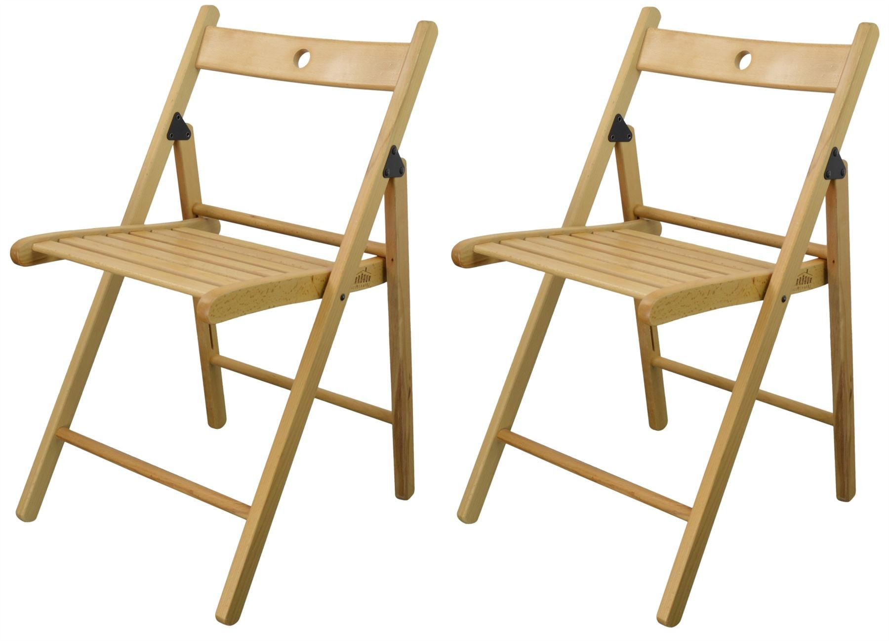 Harbour Housewares Wooden Folding Chairs – Natural Wood Colour – Pack of 2