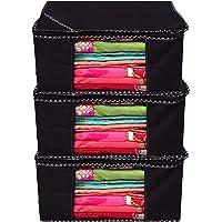 Kuber Industries Non Woven Saree Organiser/Saree Organiser/Storage Organiser Set of 3 Pcs (Black) 9 Inches Height & 90…