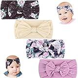 Makone Vendas del bebé (3-8 piezas) súper elásticas Suaves Nudo de bebé Turbante, Multicolor Hairband de los bebés recién Nac